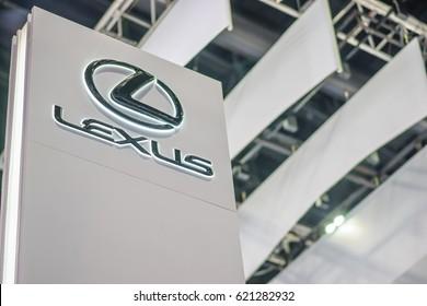BANGKOK , THAILAND - April 01, 2017 : Lexus car company logo inside of dealership building.