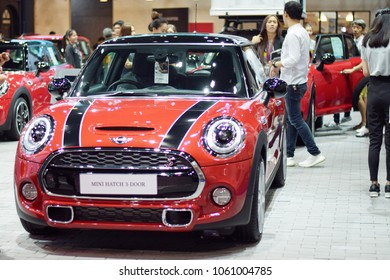 BANGKOK, THAILAND - APRIL 01, 2018 : MINI COOPER,mini hatch 3-door on exhibition site in 39th Bangkok International Motor Show.