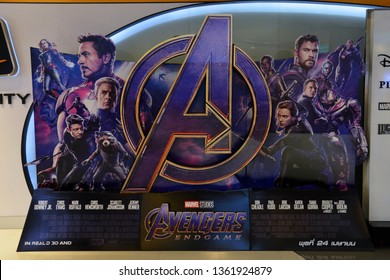 Bangkok, Thailand - April 07, 2019: The Standee of Marvel Superhero Movie Avengers 4: Endgame Displays at the Theater
