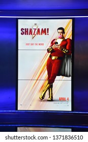 Bangkok, Thailand - April 07, 2019: The LCD Poster of An American Super Hero from DC Comic movie Shazam! at the Theater