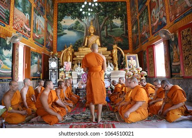 Bangkok Thailand : April 08,2018 : The Man are doing ordination.This is a ritual of Buddhism in Wat RatchaYotha in Bangkok, Meet the principles of Buddhism
