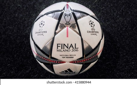 Bangkok, Thailand - April 1, 2016: Adidas Final Milano 2016 Football, The Official Matchball for UEFA Champions League Season 2015/2016