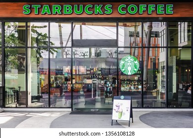 BANGKOK, THAILAND - APRIL 1, 2019: Starbucks Coffee brand inside Shopping Mall, Starbucks is one of the largest international coffee shop chain business worldwide