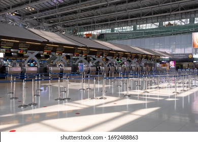 Bangkok, Thailand - April 1, 2020: Picture of empty departure hall of Suvarnabhumi airport during Covid-19 situation, this airport is one of the most traffic airport in Southeast asia in normal time.