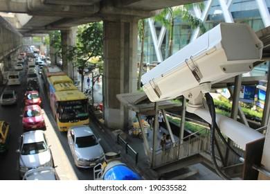 Bangkok, Thailand - April 10, 2014 : Security camera detecting movement of traffic