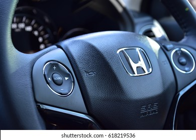 Bangkok, Thailand, April 10, 2017 : honda hrv car logo wheel design steering
