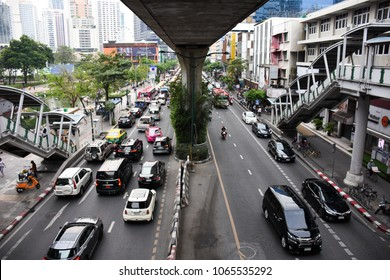 BANGKOK, THAILAND - APRIL 10, 2018: masstive of traffic on Sukhumvit road thailand. traffic jam is one of worse issue of Bangkok