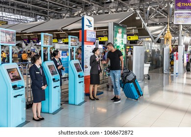 Bangkok Thailand - April 10, 2018; One tourist is asking the way to the airline staff. At Suvarnabhumi International Airport In the terminal section of the departure.