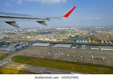 Bangkok, Thailand - April 10, 219: Air Asia Airbus A320 taking off from Don Mueang Airport.