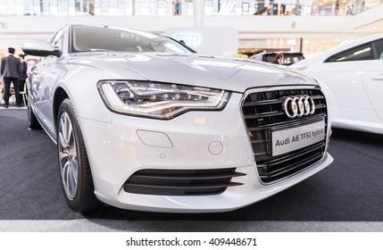 BANGKOK, THAILAND - APRIL 10 : The Audi A6 TFSI Hybrid is on display at the Mega Bangna Shopping mall on April 10, 2016 in Bangkok, Thailand.
