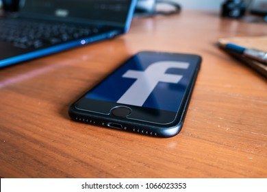 Bangkok, Thailand - April 11, 2018 : Facebook was accused that they listen in through Facebook users' phone's mic to gather the information.