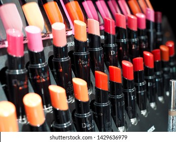 Bangkok, Thailand - April 11, 2019 : Dior Rouge Lipstick Leading cosmetics With a collection of beauty with hot colors on the lips of women