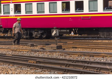 Bangkok, Thailand - April 12, 2016 : Unidentified railway employees controlling the locomotive for switching the railway before serving at State Railway of Thailand.