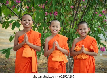 Bangkok: Thailand: April 12, 2017: A novice in respect for Buddhism.