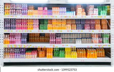 BANGKOK, THAILAND - April 12, 2019: beverages shelf at Makro wholesale supermarket