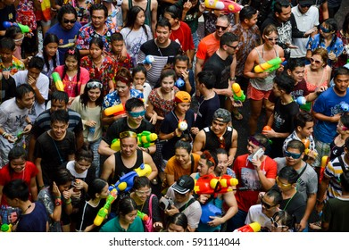 BANGKOK, THAILAND - APRIL 13, 2015: the crowds at songkran festival at silom with people walking