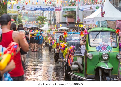 Bangkok, Thailand - April 13, 2016: Bangkok Songkran Festival Siam Square 2016, The Songkran festival is celebrated in Thailand as the traditional New Year's Day from 13 to 15 April.