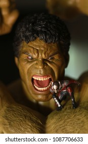 BANGKOK THAILAND - APRIL 13 ,2017 : Close up shot of Hulk and Antman figure model in AVENGERS superheros figure at Home in Bangkok ,Thailand