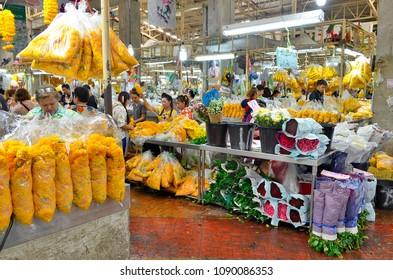 Bangkok, Thailand, April 13, 2017 - Pak Khlong Talad in Chinatown is the biggest wholesale and retail fresh flower market in Bangkok.