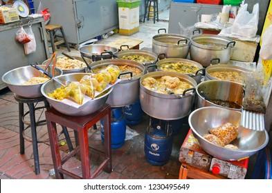 Bangkok, Thailand - April 13, 2017: Take out food stall in Old Market near Yaowarat Road in Chinatown.