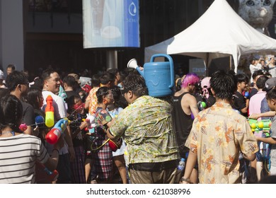BANGKOK, THAILAND - APRIL 13, 2017: Songkran in Thailand is officially observed between the 13th and 15th of April, Songkran festival on April 13, 2017 at at Siam Square in Bangkok.