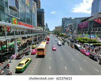 Bangkok, Thailand  April 13, 2017  Songkran Festival The photo show Traffic Conditions on Ratchadamri road in front of Central World Plaza, center of Bangkok .