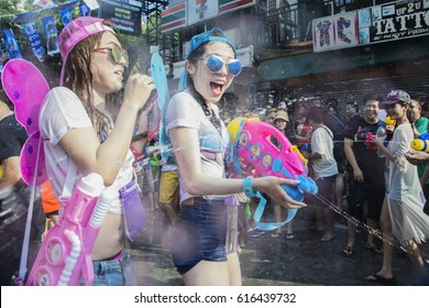 Bangkok Thailand: April 13,2016 Tourists enjoy fighting with water gun on water festival at Khao San Road, Let's play with soaked together on Songkran's day in Bangkok