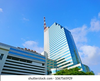 BANGKOK, THAILAND - APRIL 13,2018 : Telecommunication Building (CAT Tower building) in Bangrak, Bangkok,Thailand. Office building is owned and operated by the CAT Telecom Public Company Limited.