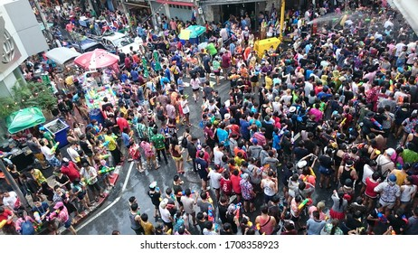 Bangkok, Thailand - April 14  2015: Songkran, the new year water festival at Silom in Bangkok