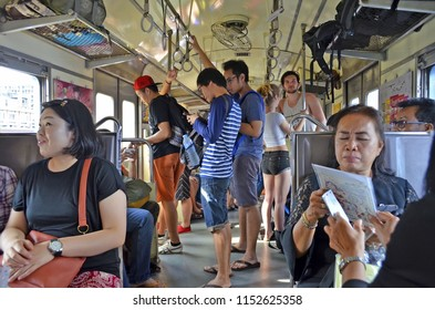 Bangkok, Thailand - April 14, 2017: Inside a morning commuter train from Bangkok to Ayutthaya.