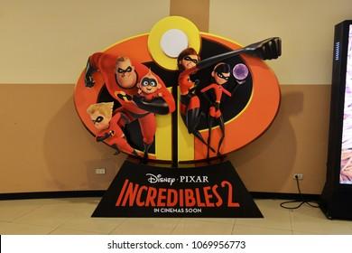Bangkok, Thailand - April 14, 2018: Beautiful Standee of Disney Animation Incredibles 2 display at the theater