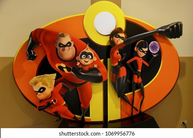 Bangkok, Thailand - April 14, 2018: Beautiful Standee of Disney Animation Incredibles 2 display at the theater