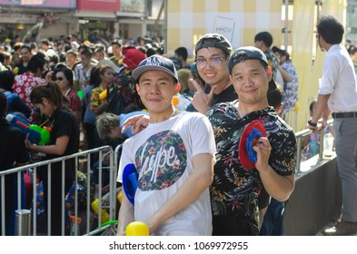 BANGKOK, THAILAND - APRIL 14, 2018: Songkran traditional in Thailand is officially observed between the 13th and 15th of April, Songkran festival on April 14, 2018 at at Siam in Bangkok.