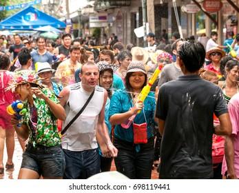 Bangkok Thailand: April 15, 2013 People enjoyed with splash. Songkran Festival at Khao San Road.