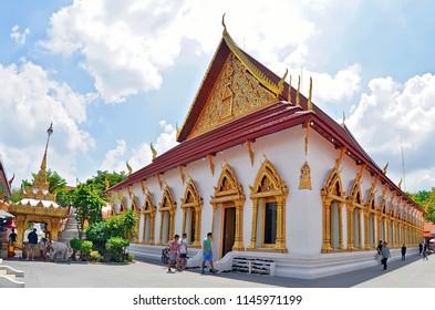 Bangkok, Thailand - April 15, 2017: Exterior view of The Wat Chana Songkhram Rachawora Mahawiharn.