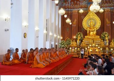 Bangkok, Thailand - April 15, 2017: Worshippers and monks during a ceremony at the Wat Chana Songkhram Rachawora Mahawiharn.