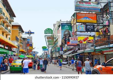 Bangkok, Thailand - April 15, 2017: Khao San Road, the famous backpackers street in Bangkok, with cheap accomodations and a lot of bars, crowded at night with people partying.