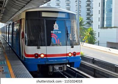Bangkok, Thailand - April 15, 2017: The BTS Skytrain at Saphan Taksin station.