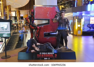 Bangkok, Thailand - April 15, 2018: Standee of Marvel Hero Deadpool 2 display at the theater