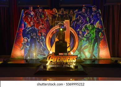 Bangkok, Thailand - April 15, 2018: The Model of Thanos Mighty Glove Infinity Gauntlet at The Standee of Marvel Superhero Movie Avengers 3: Infinity War Displays at the Theater