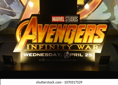 Bangkok, Thailand - April 15, 2018: The Standee of Marvel Superhero Movie Avengers 3: Infinity War Displays at the Theater