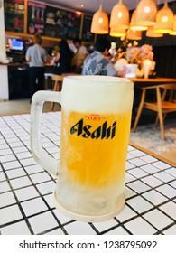 BANGKOK, THAILAND - APRIL 15, 2018; Asahi Beer after Onsen Spa in Bangkok,Thailand