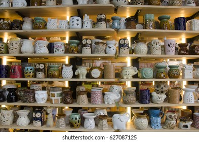 BANGKOK, THAILAND - APRIL 15 : Ceramic art shop show for sale thai people and foreigner travelers shopping and visit at Chatuchak Weekend Market on April 15, 2017 in Bangkok, Thailand.
