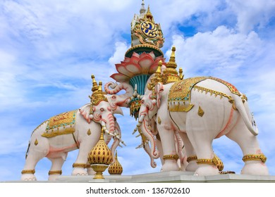 BANGKOK, THAILAND - APRIL 15: Wat Phra Kaew in Bangkok, Thailand on April 15, 2013. The Elephants statues were built in the occasion to celebrate the 84th of His Majesty the King Bhumibol birthday