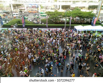 Bangkok Thailand, April 15th, 2018 , Songkran (Thai New Year) Day, Water Festival, People playing water guns in front of Central World Plaza Department store
