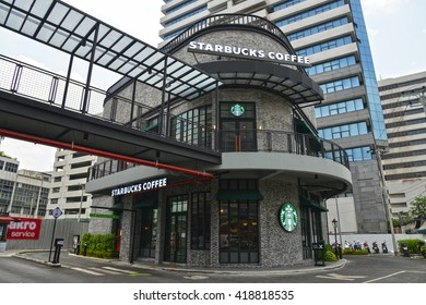 Bangkok, Thailand - April 16, 2016:  Beautiful Starbucks Drive Thru at Suanplern Market (Community Mall on Rama 4 Road)