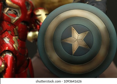 BANGKOK THAILAND - APRIL 18 ,2017 : Close up shot  Shield of Captain America  superheros figure in action appearing in American comic books by Marvel.