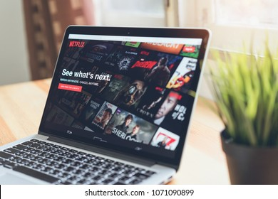 Bangkok, Thailand - April 18, 2018 : Netflix app on Laptop screen. Netflix is an international leading subscription service for watching TV episodes and movies.