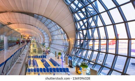 Bangkok, Thailand - April 19 2018: Suvarnabhumi Airport is one of two international airports where it's one of the biggest international airports in Southeast Asia and a regional hub for aviation