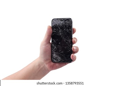 BANGKOK, THAILAND - APRIL 2, 2019: Man is holding New Apple iPhone X smartphone with broken display, held by a hand on white at shop in Bangkok,mobile Phone Repair and Service concept